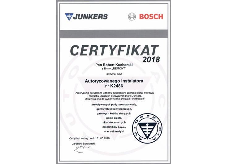 Certyfikat instalatora Junkers Bosch