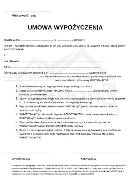 umowa wypożyczenia
