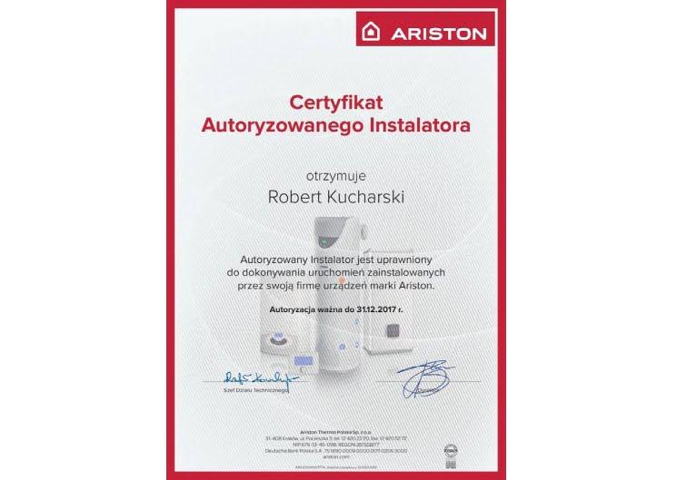 Ariston - certyfikat