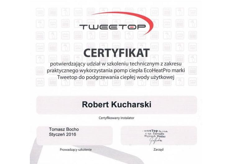 Certyfikat tweetop ecoheat pro