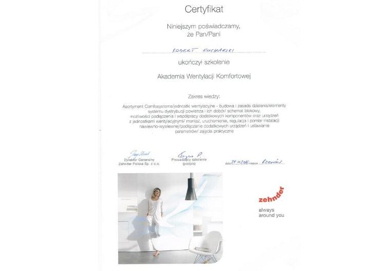 Certyfikat zehnder