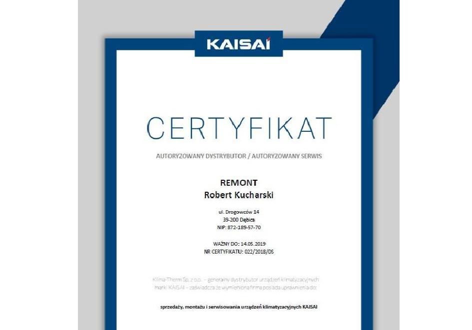 KAISAI certyfikat