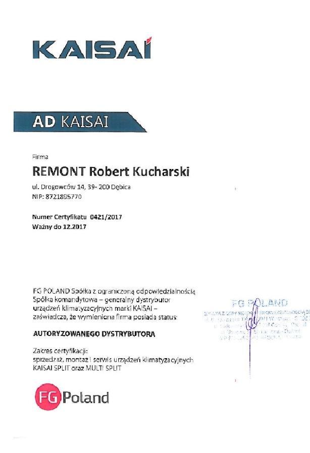 KAISAI certyfikat - 2017