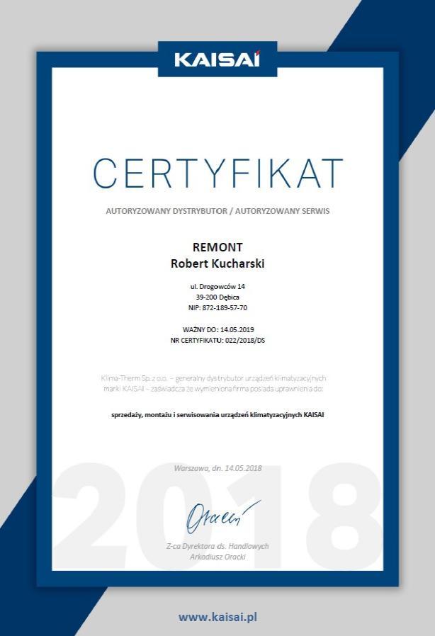 KAISAI certyfikat - 2018