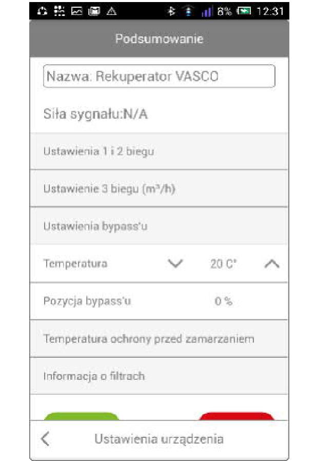 Bramka Vasco WiFi - Dla bypassu można ustawić temperaturę wewnętrzną, która będzie przyjmowana jako temperatura przegrzania pomieszczeń