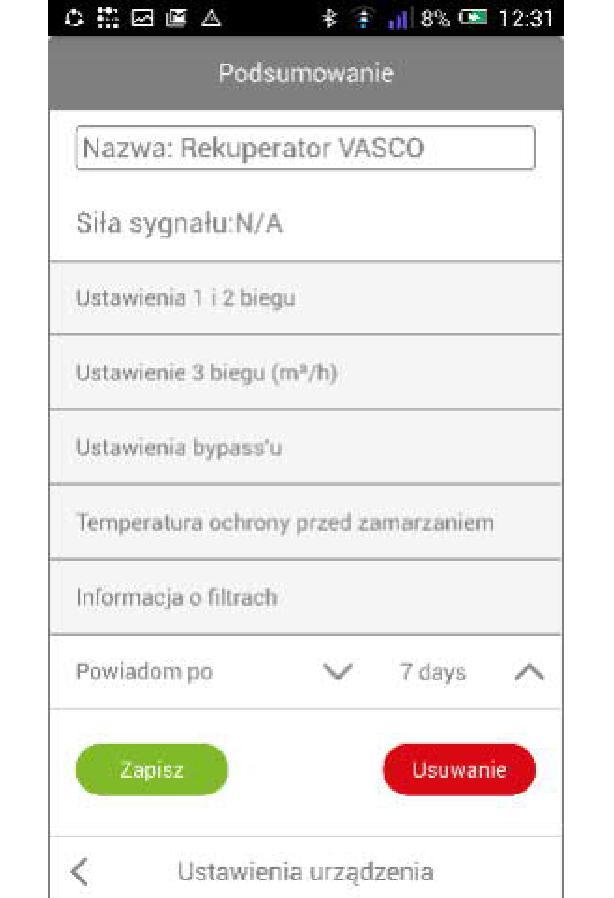 Bramka Vasco WiFi - Można ustawić przypomnienie o konieczności wymiany filtrów wybierając okres wyrażany ilością dni