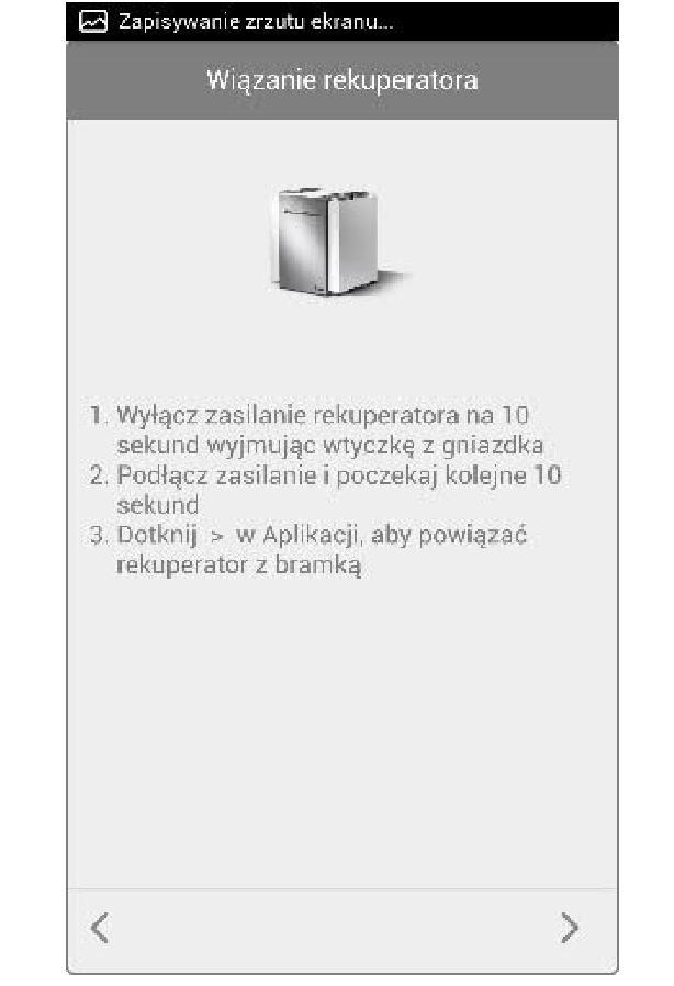 Bramka Vasco WiFi - Powiązać rekuperator z Bramką wykonując polecenia w aplikacji
