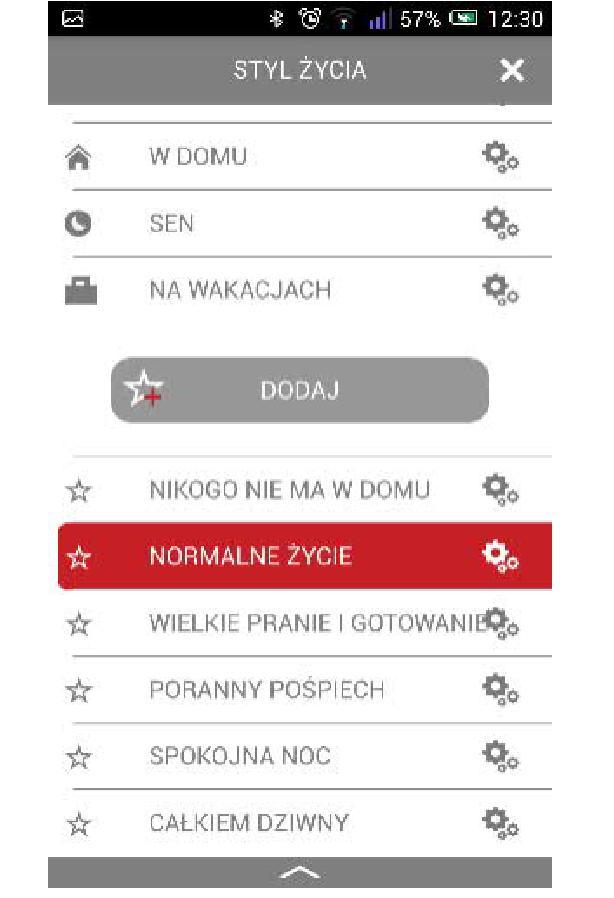 Bramka Vasco WiFi - Użytkownik ma możliwość dodawania dodatkowych stylów życia z możliwością zupełnie dowolnego tworzenia własnych nazw.