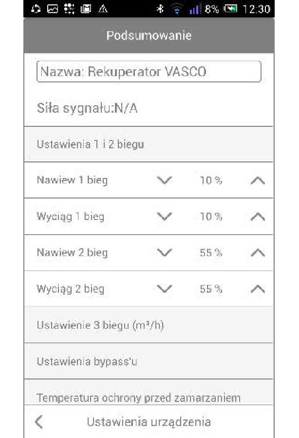 Bramka Vasco WiFi - Ustawienia nawiewu i wyciągu dla 1 i 2 biegu zmieniamy jako procent w stosunku do ustawienia 3 biegu
