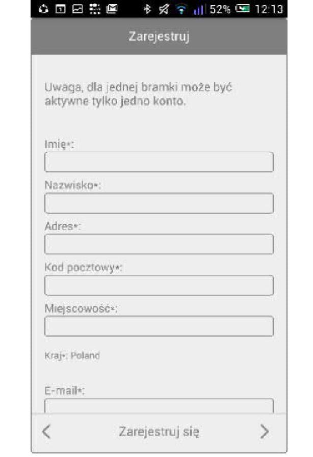 Bramka Vasco WiFi - W aplikacji utworzyć konto podając wymagane informacje