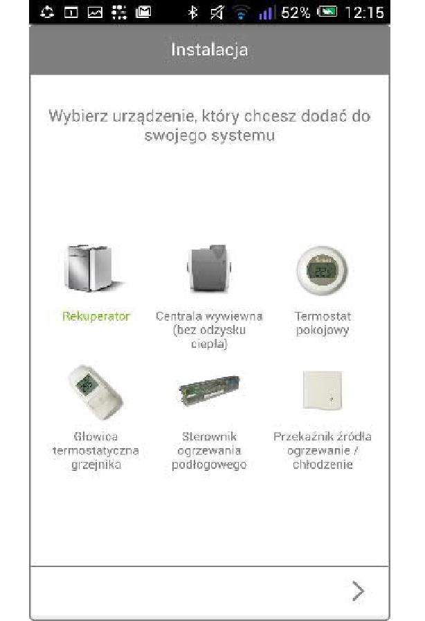 Bramka Vasco WiFi - Wskazać posiadane urządzenia zgodne z Vasco Climate Control