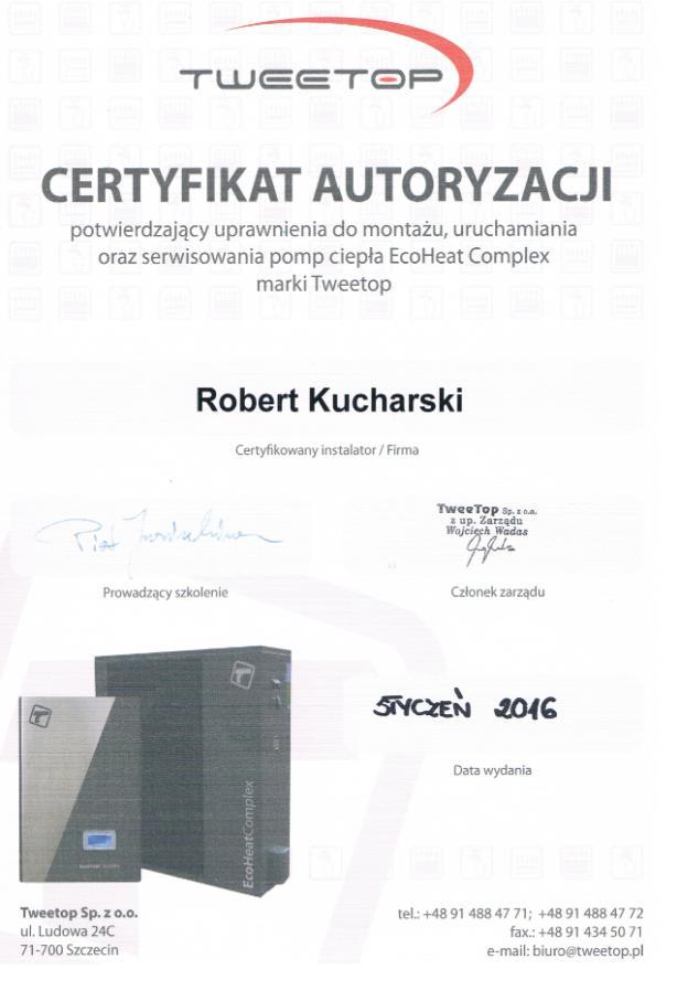 Certyfikat autoryzacji Tweetop Eco Heat Complex