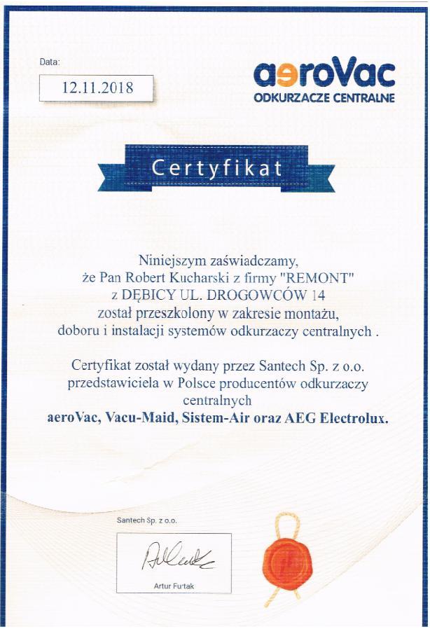 Certyfikat santech - odkurzacze