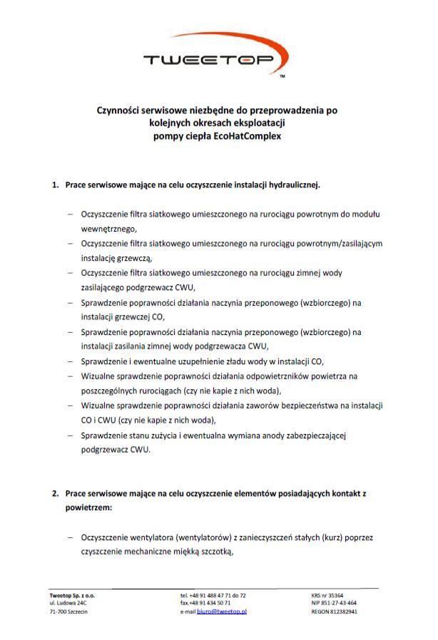 Czynności serwisowe EcoHeat Complex - 01
