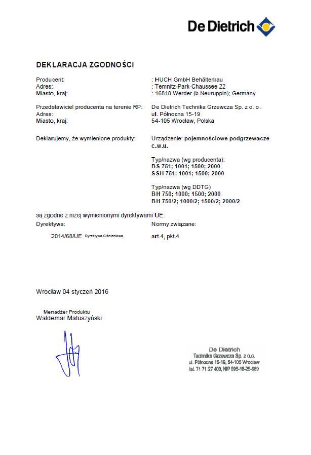 Deklaracja zgodności Podgrzewacze BH i BH-2