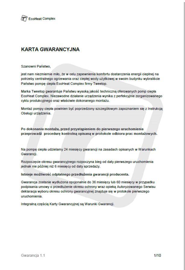 Karta gwarancyjna Ecoheat Complex - 01