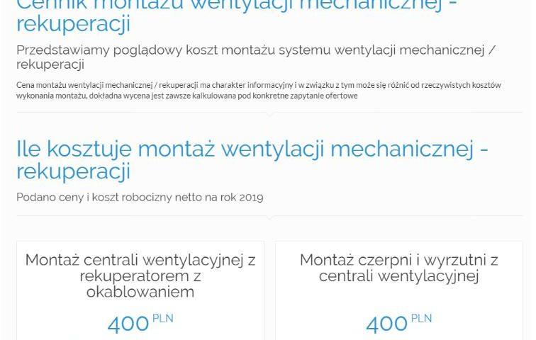 Cennik montażu wentylacji mechanicznej - rekuperacji