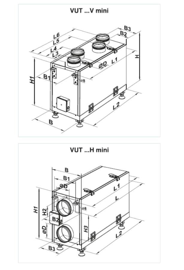 Dane techniczne - VUT H-V MINI (DO 300 M3-H)