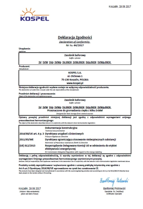 Deklaracja zasobnik buforowy c.o. kospel