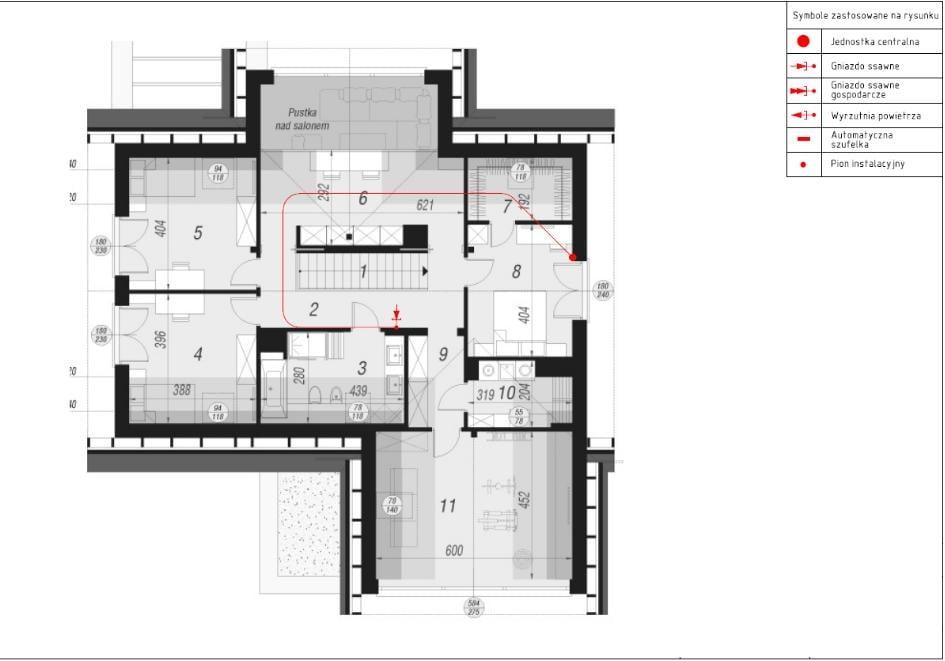 Projekt odkurzacza centralnego wąż chowany - piętro