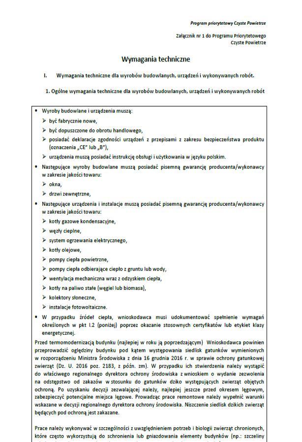 Załącznik nr 1 do Programu Priorytetowego Czyste powietrze - wymagania techniczne