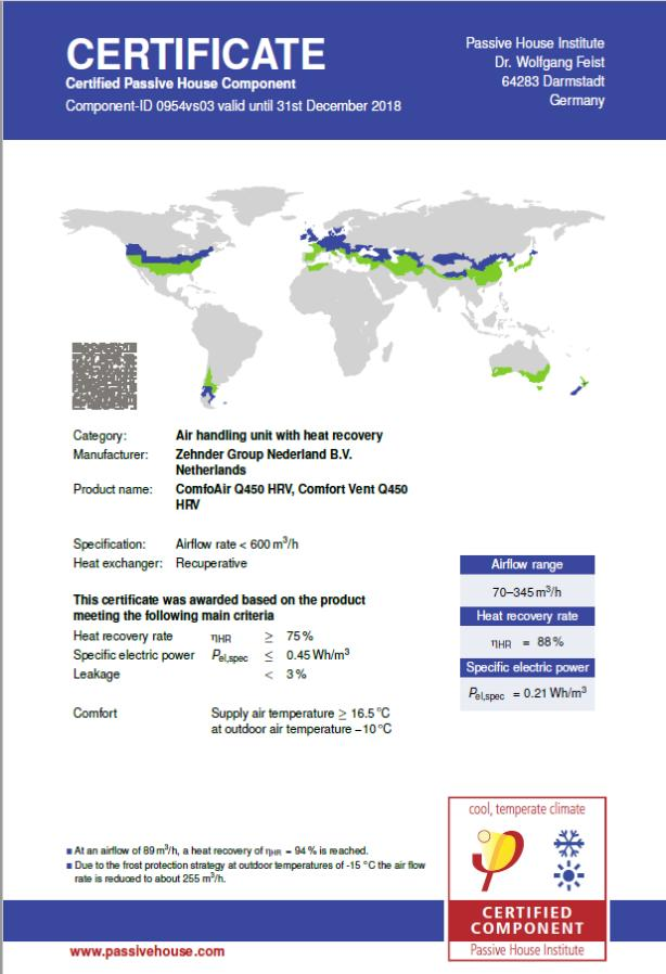 Zehnder Comfoair Q450 HRV - Certified Passive House