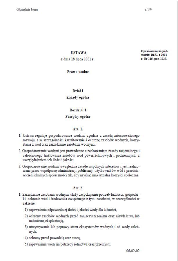 Ustawa z dnia 18 lipca 2001 r. Prawo wodne. - A