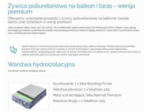 Żywica poliuretanowa na balkon i taras - wersja premium - A