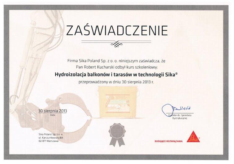 Certyfikat Sika - firma remont