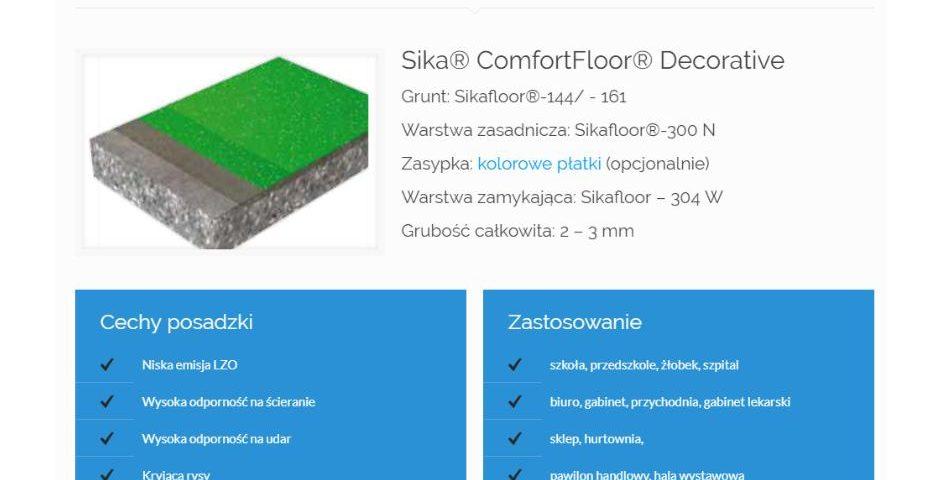 Gładka, dekoracyjna, elastyczna posadzka o niskiej zawartości LZO - A