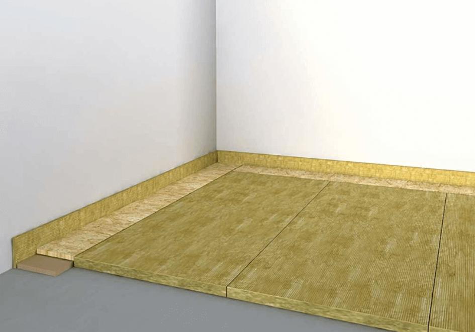 wełna mineralna - przykładowe ułożenie na podłodze