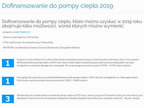 Dofinansowanie do pompy ciepła 2019