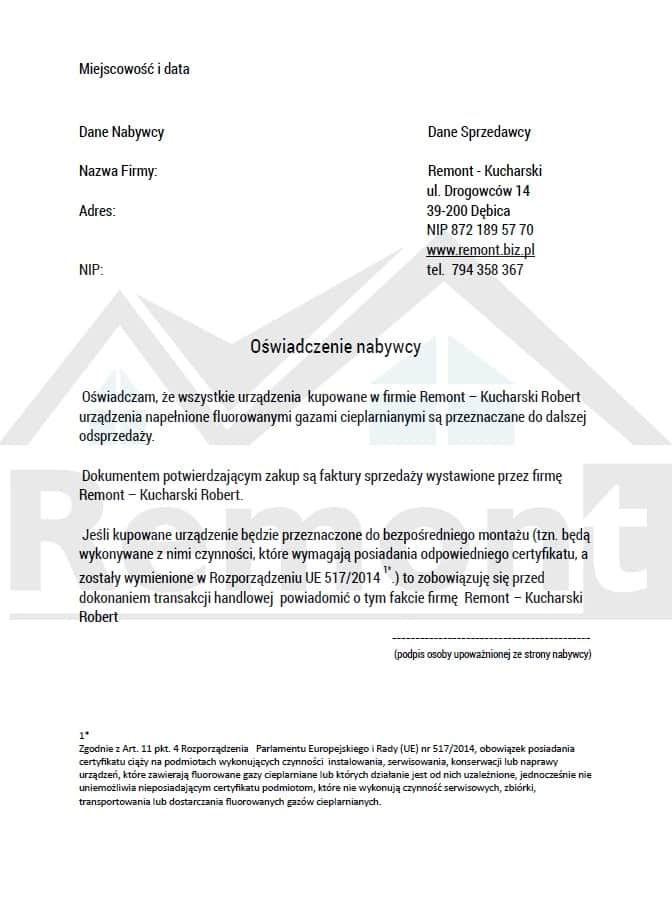 Sprzedaż-klimatyzacji-oświadczenie-firma-F-gazy
