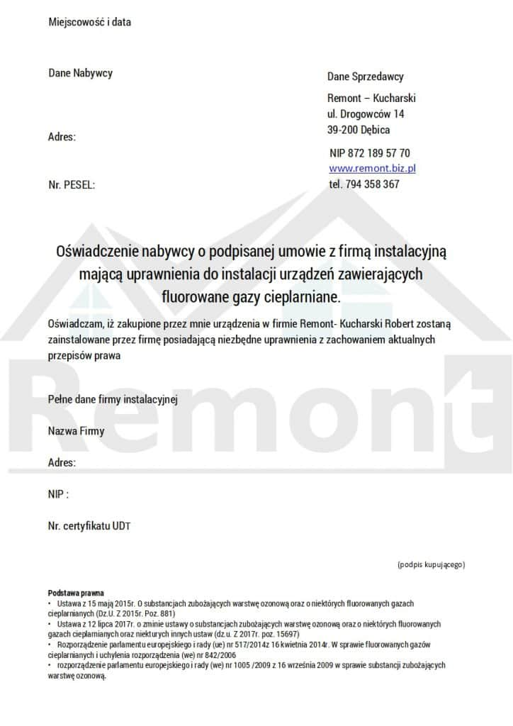 Sprzedaż-klimatyzacji-oświadczenie-osoba-fizyczna-F-gazy