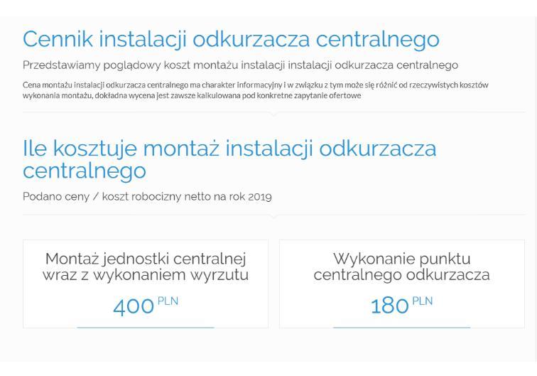 Cennik instalacji odkurzacza centralnego