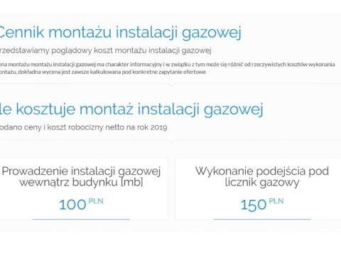 Cennik montażu instalacji gazowej
