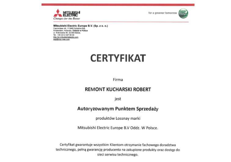 Certyfikat autoryzowanego sprzedawcy Mitsubishi Electric