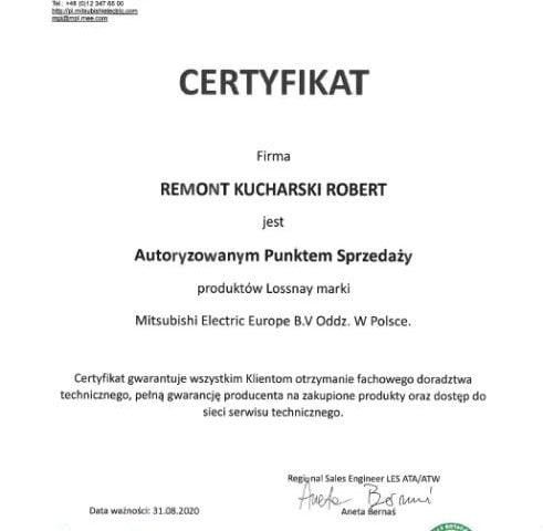 Certyfikat autoryzowanego sprzedawcy Mitsubishi Electric - Remont