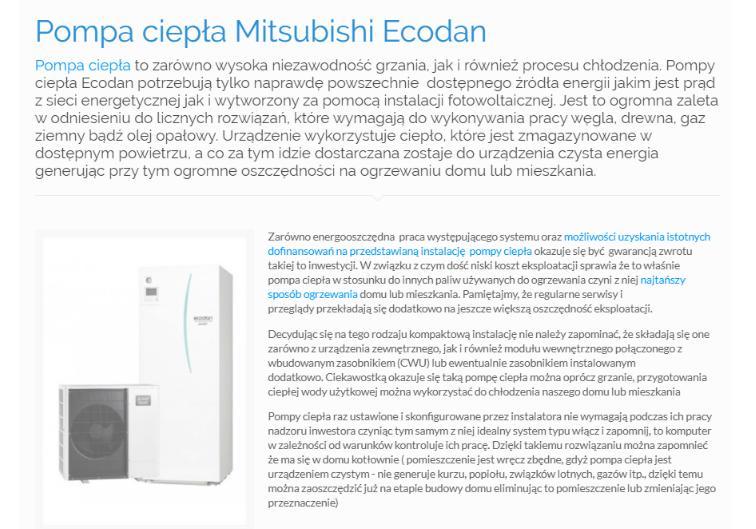 Pompa ciepła Mitsubishi Ecodan