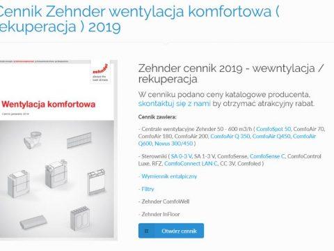 Cennik Zehnder wentylacja komfortowa ( rekuperacja ) 2019
