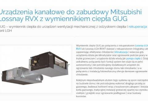 Urządzenia kanałowe do zabudowy Mitsubishi Lossnay RVX z wymiennikiem ciepła GUGUrządzenia kanałowe do zabudowy Mitsubishi Lossnay RVX z wymiennikiem ciepła GUG