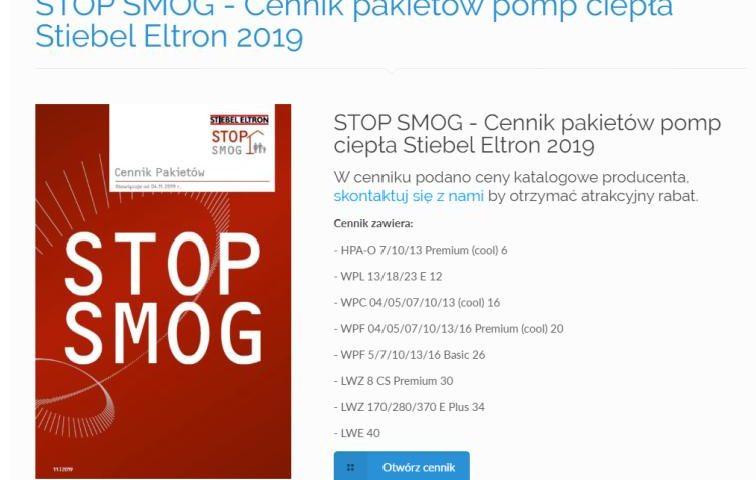 STOP SMOG Cennik pakietów pomp ciepła Stiebel Eltron 2019