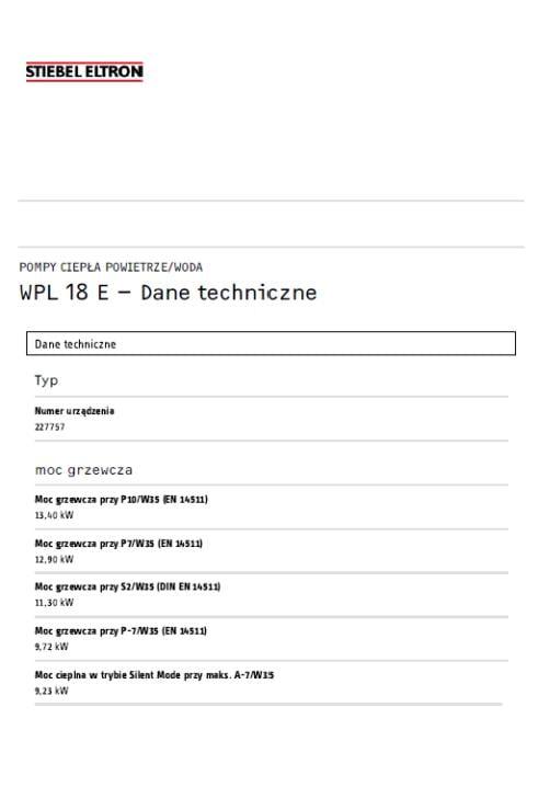 Stiebel Eltron WPL 18 E - dane techniczne