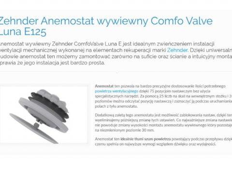 Zehnder Anemostat wywiewny Comfo Valve Luna E125