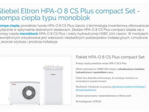 Stiebel Eltron HPA-O 8 CS Plus compact Set - pompa ciepła typu monoblok