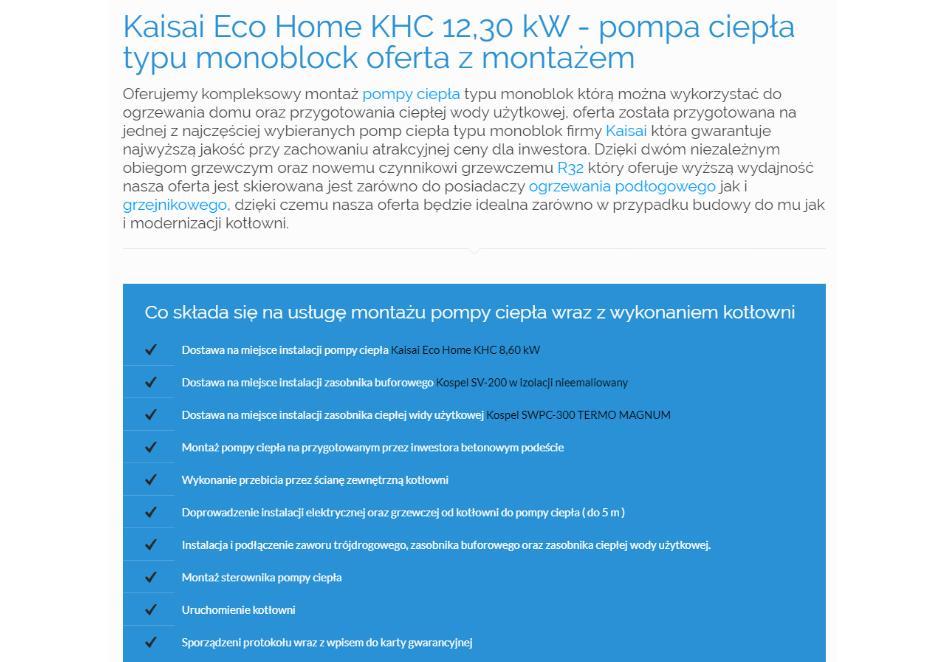 Kaisai Eco Home KHC 12,30 kW - pompa ciepła typu monoblock oferta z montażem