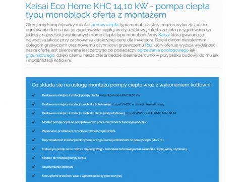Kaisai Eco Home KHC 14,10 kW - pompa ciepła typu monoblock oferta z montażem