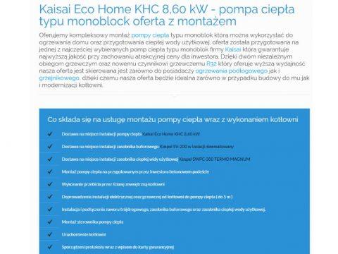 Kaisai Eco Home KHC 8,60 kW - pompa ciepła typu monoblock oferta z montażem