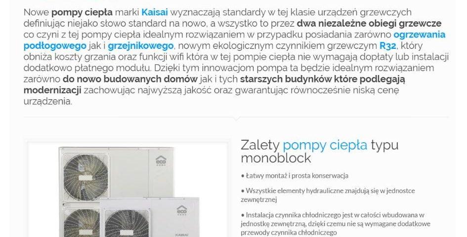 Kaisai Eco Home KHC - pompa ciepła typu monoblock