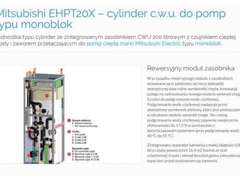 Mitsubishi EHPT20X – cylinder c.w.u. do pomp typu monoblok